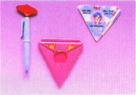 Sailor Moon merchandise: transformation pen, secret compact and info card on Sailor Mercury sold by Bandai