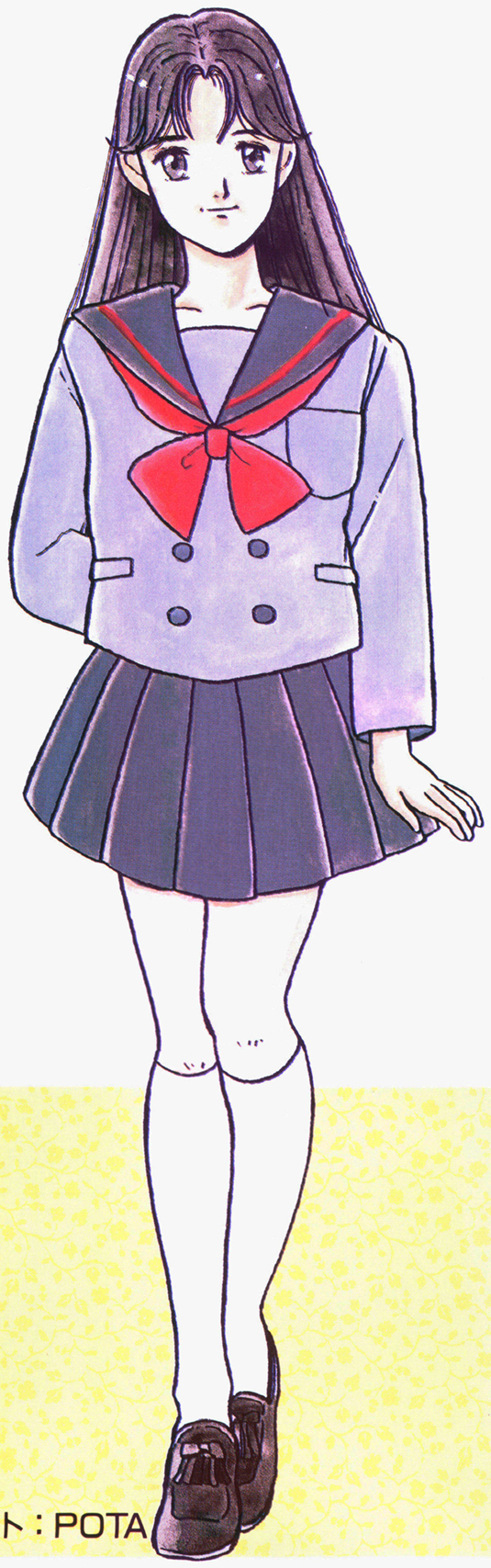 Picture of a girl (possibly Rei) dressed in the school uniform of TA Girls Academy.